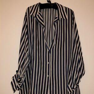 Zara Split Sleeve Striped Tunic Blouse with Belt